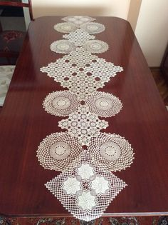 Hearts Vintage Doily Table Runner Ecru And White By