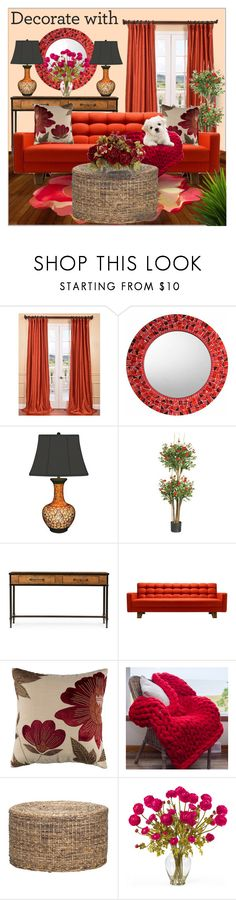 """""""Decorate with orange and red"""" by bellissabeauty ❤ liked on Polyvore featuring interior, interiors, interior design, home, home decor, interior decorating, Exclusive Fabrics & Furnishings, Nearly Natural and Pottery Barn"""