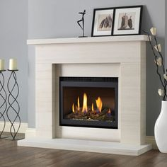 Excellent Pictures Electric Fireplace makeover Strategies Pureglow Drayton Limestone Fireplace Package With Chelsea HE Gas Fire Fireplace Redo, Limestone Fireplace, Black Fireplace, Small Fireplace, Modern Fireplace, Living Room With Fireplace, Fireplace Surrounds, Fireplace Design, Fireplace Mantels