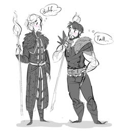 artcicles:  i really love the headcanon that anders is taller than hawke >3>;;;; tho tbh he's probably taller than how i drew him here