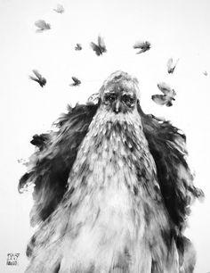 Alexandre Day / Merlin (Graphite sur bois enduit)
