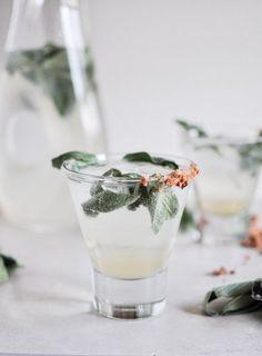 Honey sage gin fizz
