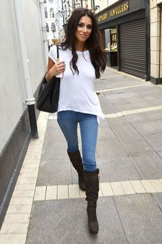 Casual- the simple T-shirt blouse and jeans look, ......Lovely brown boots comfortable summer spring fall