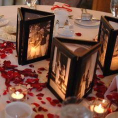 """LOVE this idea! Use a 4x6 or 5x7 connected side by side frame trio, remove backing and affix photo with very small pieces of clear tape. """"Wrap"""" frame to form a triangle around votive candles... voila!"""