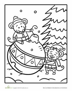 Worksheets: Color the Christmas Mice