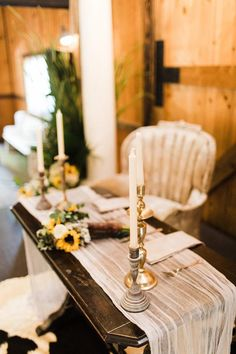 Antique sweetheart with vintage King and Queen chairs. An airy grey table runner and candle sticks add elegance.   Event styling, set up, and rentals by On The Side Events & Service.   Photo by Kelcie Jean Photography.