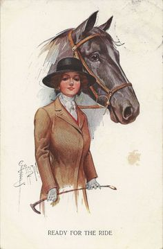 RESERVED FOR TQ - Ready for the Ride - Vintage 1910s Artist Signed Equestrian and Horse Postcard on Etsy, 4,91€