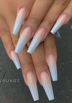 Ombre Nail Colors, Purple Ombre Nails, Baby Blue Nails, Pink Nail, Acrylic Nails Coffin Ombre, Summer Acrylic Nails, Gradient Nails, Summer Nails, Winter Nails