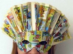 Lavoretti di Carnevale con materiale di riciclo - Maschera fai da te con fumetti