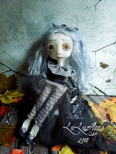 Judith Black Moth Halloween Art Doll OOAK Creepy