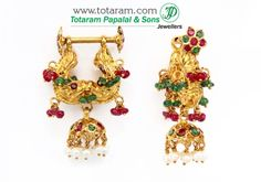 Makarakundanalu - 22K Gold Hoop Earrings with Ruby & Emerald - GER2673 - Buy this Indian Jewelry Design from Totaram Jewelers for a low price of $641.99