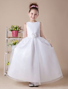 Lovely A-line White Satin Ankle-Length First Communion Dress & Wedding > Wedding Party Dresses > Flower Girl Dresses Flower Girl Dresses Boho, Toddler Flower Girl Dresses, Little Girl Dresses, Toddler Dress, Cute Dresses, Girls Dresses, Girls Communion Dresses, Moda Formal, Beautiful Summer Dresses