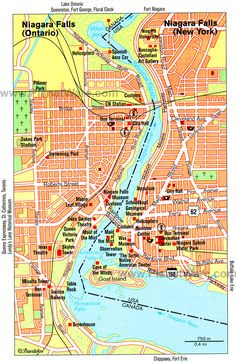 Map of Niagara Falls Attractions | PlanetWare.1st maid of mist, 2nd cave of wind,3rd canada-table rock, white water walk, Victoria prk,bridge