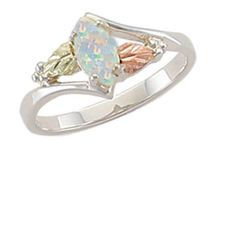 Black Hills Gold ring womens ladies .925 silver 8x4 mm lab created opal size 5-9 #Landstroms