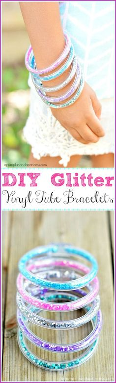 How to make glitter vinyl tube bracelets - easy craft idea for girls.