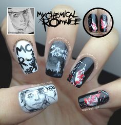 My Chemical Romance nails. Gerard Way nailart. The Black Parade. Three Cheers for sweet revenge.