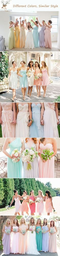 For a pastel wedding color palette, try mismatched bridesmaid dresses in different colors but similar styles.