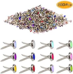Metal Brass Paper Fasteners 200 Pack Multicolor Small Brads DIY Paper Craft Scrapbooking Card Making Wedding Decoration Office Supplies 1//2 inch