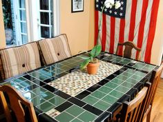 tiled kitchen table tops - would be pretty in Mexican tile