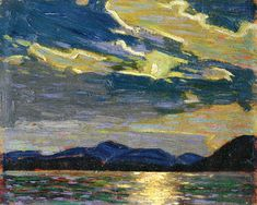 """Hot Summer Moonlight,"" Tom Thomson (Canadian, 1877-1917), Oil on wood panel, 8 7/16 x 10 1/2 in., 1915"