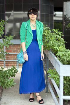 Blue-maxi-forever21-dress-green-color-blocking-gojane-blazer_400