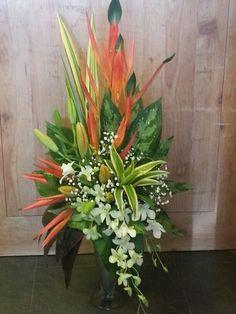 Orange n white display Altar Flowers, Church Flowers, Silk Flowers, Wedding Flowers, Large Flower Arrangements, Hawaiian Flowers, Ikebana, Flower Designs, Flower Power