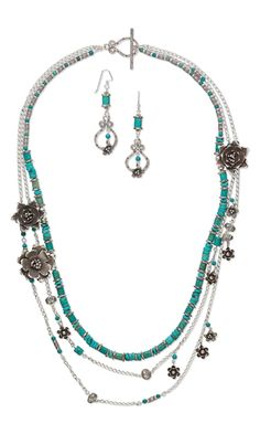 Triple-Strand Necklace and Earring Set with Turquoise Gemstone Beads, Antiqued Hill Tribes Fine Silver Beads, Charms and Focals and Sterling Silver Chain