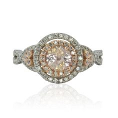 Round Morganite Ring with Diamond Double Halo and Twisted Shank - LS2242