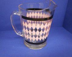 SALE Hazel Atlas 1950s Pink Diamonds, 55 oz Glass Pitcher Vintage Retro Mid-Century Glassware Pink Lemonade