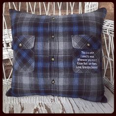 NOW TAKING ORDERS FOR JANUARY 2017 TURNAROUND TIME IS 4 TO 6 WEEKS  SEE OUR SHOP SHIPPING & POLICIES FOR MORE DETAILS.  -------------------------------------------------------------------------  Handmade Memory Shirt Pillow. This listing its for:  •Personalized Pillow Cover made out of loved ones shirt with an Embroidery Message of your choice. Pillow its double stitched for durability. •New Pillow Insert - Average size 18x18 it can be smaller or bigger depends on the shirt size. Color…