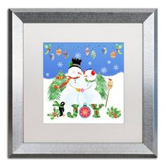 "Trademark Art 'Xmas Snowman' Framed Graphic Art Print Mat Color: White, Size: 16"" H x 16"" W x 0.5"" D"