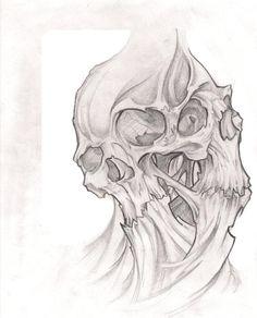 Skull sketch by seraphicdevil on deviantart tattoo sketches, tattoo drawings, art drawings, drawing Evil Skull Tattoo, Skull Rose Tattoos, Skull Hand Tattoo, Skull Sleeve Tattoos, Body Art Tattoos, Wing Tattoos, Biomech Tattoo, 4 Tattoo, Dark Tattoo