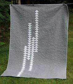 Modern Quilt in Gray and White Flying Geese Pattern. Custom Order. Ask about other sizes too.