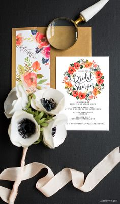 Print your own gorgeous watercolor Bridal Shower invitations with this printable design from handcrafted lifestyle expert Lia Griffith.