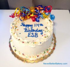 Birthday cake for ESB Financial Services in Manhattan to celebrate their 114th birthday! One of our signature cakes.