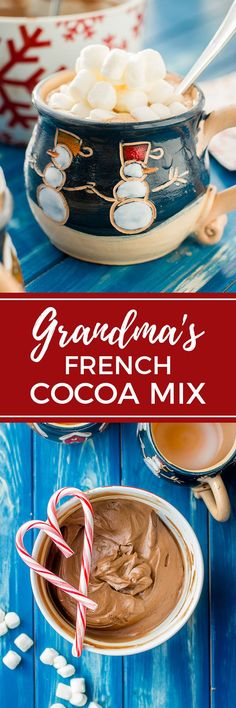 Creamy classic French cocoa from a tried and true family recipe. Make a big batch of the mix, store in the fridge, and serve up creamy hot cocoa on demand! Christmas Drinks, Christmas Desserts, Christmas Goodies, Christmas Ideas, Hot Chocolate Recipes, Vegetarian Chocolate, Fudge, Smoothie Recipes, Smoothies