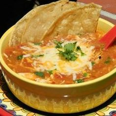 Bring a bit of the Southwest to your table with this spirit-warming chicken tortilla soup.  Use homemade broth and taco seasoning to reduce sodium. Work lunch.