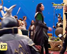 Tom Hiddleston and Chris Hemsworth on the set of Thor: The Dark World (http://www.etonline.com/media/videos/mark-ruffalo-jokes-his-kids-are-so-over-dad-being-hulk-exclusive-89220 )