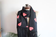 Check out this item in my Etsy shop https://www.etsy.com/listing/211827571/black-fringed-scarf-unique-scarf-black