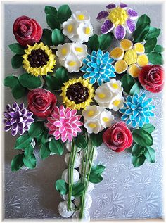 Flower Bouquet cupcakes..different kind of flower cupcakes..very creative and such a nice thing..!!!