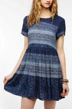 Pins And Needles Lace-Up Back Babydoll Dress #urbanoutfitters
