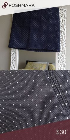 Ann Taylor Loft polka dot navy skirt Worn only a few times with dry cleaning care, stitched polkadots and thick beautiful navy fabric! Size 14, also fits a 10-12. LOFT Skirts