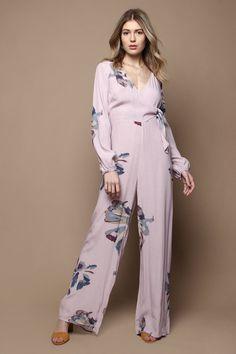 Bella Long Sleeve Floral Print Jumpsuit - Orchid