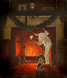 "Norman Rockwell - 1919 - ""Is He Coming?"" - By: Norman Rockwell Norman Rockwell Christmas, Norman Rockwell Art, Norman Rockwell Paintings, Vintage Illustration, Illustration Noel, Christmas Illustration, Christmas Scenes, Noel Christmas, Vintage Christmas"