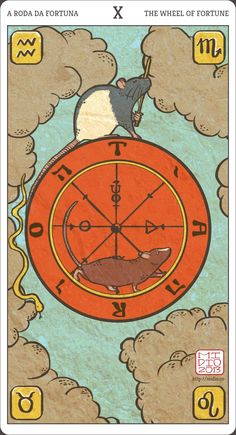 Card #10 of my Muroidea Tarot, The Wheel of Fortune.