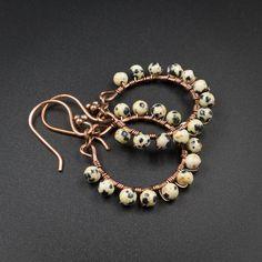 Dalmation jasper earring Dalmation jasper and copper handmade
