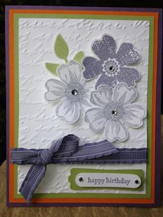 Stamps: Flower Shop, Tenny Tiny Wishes Ink: Wisteria Wonder, Basic Grey Accessories: Rhinestones, Ribbon Techniques: Embossing