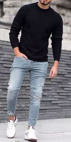 Mens Casual Dress Outfits, Casual Wear For Men, Stylish Mens Outfits, Fall Fashion Outfits, Denim Shirt With Jeans, Denim Shirts, Ripped Jeans, Men's Jeans, Mens Fashion Suits