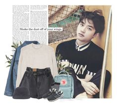 """Kyungsoo: shake the dust off of your wings"" by yxing ❤ liked on Polyvore featuring MANGO, Fjällräven, Plush, New Balance, kpop, EXO and kyungsoo"