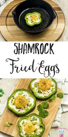 Looking for a fun, unique, and delicious recipe to try for St. Patricks Day? Shamrock fried eggs in a cast iron skillet are so good and low carb! #StPatricksDay #Shamrocks #IrishRecipes #Eggs #GreenBellPepper